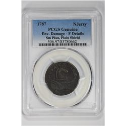 1787 Njersy Genuine Sm Plan, Plain Shield. F Details PCGS