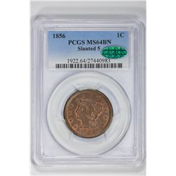 1856 1C Large Cent. MS 64 PCGS