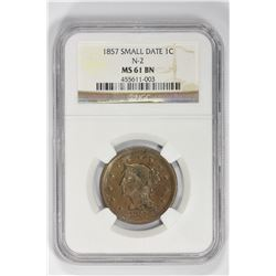 1857 1C Large Cent. MS 61 NGC