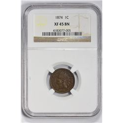 1874 1C Indian Cent. XF 45 NGC