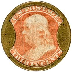 J. Gault. 30 Cents, Plain Frame. HB-139, EP-178, S-100. Extremely Fine.
