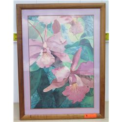 """Framed Art - Signed Carli Oliver Orchid Watercolor 24""""x32"""""""