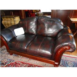 6 ft. Two Cushion Leather Sofa