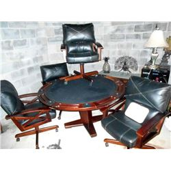 5 PC Mahogany Black Leather Card Table Set