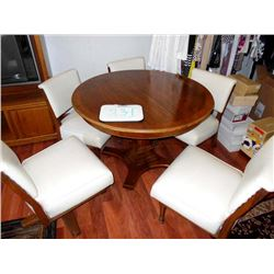 Leather / Walnut 6 PC Game Table & Chairs