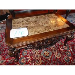 "48"" x 32"" Ornate Heavy Mahogany Curved Brown Marble Top Coffee Table"