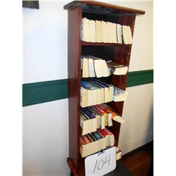 4 FT  X 24 INCH WOOD BOOK SHELF & BOOKS
