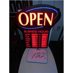 LIGHT UP BUSINESS SIGN W/ HOURS