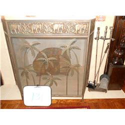Metal Elephant Design Fire Place Screen