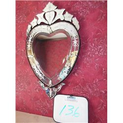 Unusual Glass Heart  Beveled Etched Mirror