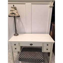 White Dressing Table with Bench and Lamp