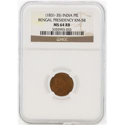 1831-35 India Pie Bangal Presidency KM-58 NGC MS64RB