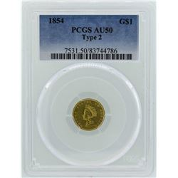 1854 $1 Indian Princess Head Gold Dollar Coin Type 2 PCGS AU50