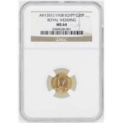 1938 Egypt 20 Piastres Royal Wedding Gold Coin NGC MS64