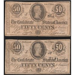 Lot of (2) 1864 Fifty Cents Confederate States of America Notes