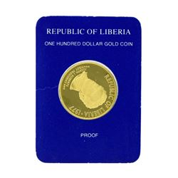 1977 Republic of Liberia $100 Gold Proof Coin