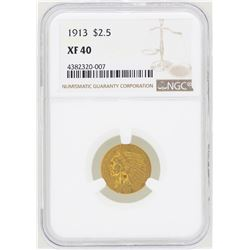 1913 $2 1/2 Indian Head Quarter Eagle Gold Coin NGC XF40
