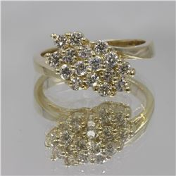 14KT Yellow Gold 0.64 ctw Diamond Cluster Ring