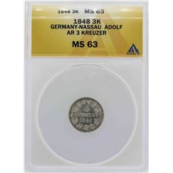 1848 Germany-Nassau 3 Kreuzer Coin ANACS MS63