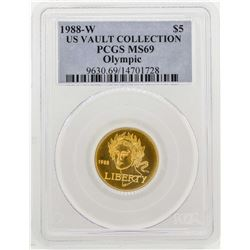 1988-W $5 US Vault Collection Olympic Gold Coin PCGS MS69