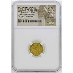 527-565 Byzantine Empire Justinan I Temissis Gold Coin NGC CH XF