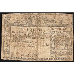 February 16, 1771 New York One Pound Colonial Currency Note