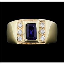 Men's 14KT Yellow Gold 1.40 ctw Sapphire and Diamond Ring