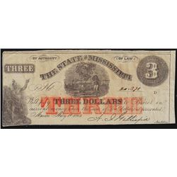 1864 $3 The State of Mississippi Obsolete Bank Note
