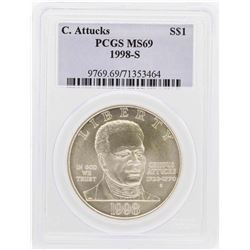 1998-S $1 Crispus Attucks Commemorative Silver Dollar Coin PCGS MS69