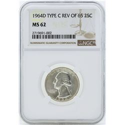 1964-D Washington Quarter Type C Reverse of 65 Silver Coin NGC MS62