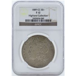 1889-CC $1 Morgan Silver Dollar Coin NGC F12 Highland Collection