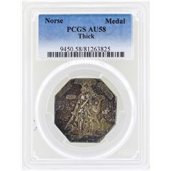 1925 Norse American Centennial Silver Medal Thick PCGS AU58
