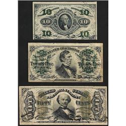 Set of March 3, 1863 10/25/50 Cent 3rd Issue Fractional Notes