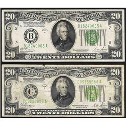 Lot of (2) 1928B $20 Federal Reserve Notes