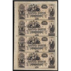 Uncut Sheet of $20 Canal Bank New Orleans Obsolete Notes