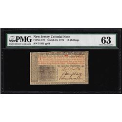 March 25, 1776 New Jersey 12 Shillings Colonial Note PMG Choice Uncirculated 63