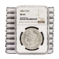 Lot of (10) 1884-O $1 Morgan Silver Dollar Coins NGC MS64