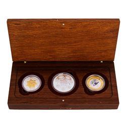 2001 Bi-Metal 21st Century Australian 3 Coin Combination Gold & Silver Set