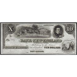 1800's $10 Bank of New England Goodspeeds Obsolete Note