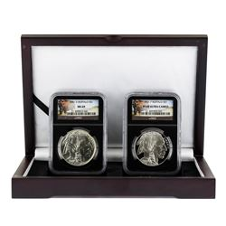 Set of 2001P & D $1 American Buffalo Silver Coins NGC MS69 & PF69 Ultra Cameo