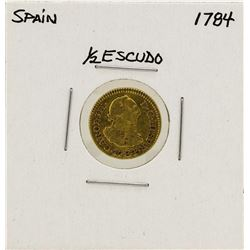 1784 Charles III Spanish 1/2 Escudos Gold Coin