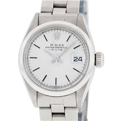 Rolex Ladies Stainless Steel Silver Index Smooth Bezel Oyster Band Datejust Wris