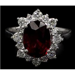 14KT White Gold Certified 4.84 ctw Natura Oval Cut Rhodolite and Diamond Wedding