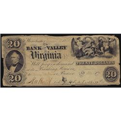1856 $20 Bank of the Valley Virginia Obsolete Bank Note