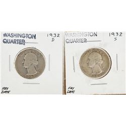 Lot of (2) 1932-D and 1932-S Washington Quarter Coins
