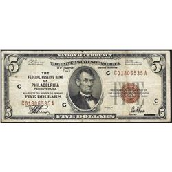 1929 $5 The Federal Reserve Bank of Philadelphia Note