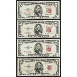 Lot of (4) 1953A $5 Legal Tender Notes