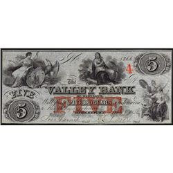 1836 $5 The Valley Bank of Maryland Obsolete Bank Note