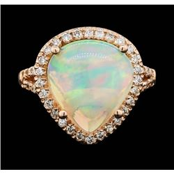 14KT Rose Gold 4.20 ctw Opal and Diamond Ring
