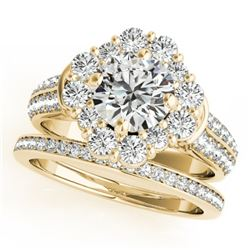 3.03 CTW Certified VS/SI Diamond 2Pc Wedding Set Solitaire Halo 14K Yellow Gold - REF-623M3F - 31111